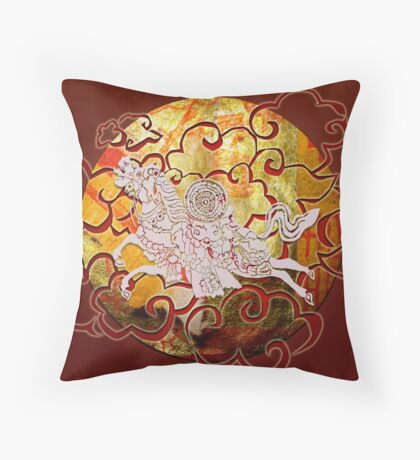 White Wind Horse - Fire in the sky Throw Pillow