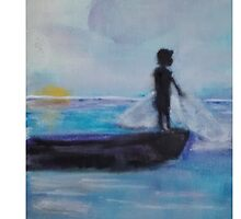 sunrising fishing boy,  by claudiabernardi