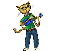 Cat On A Uke - ukulele-playing cat by Tom Clifton