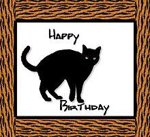 Black Cat Bithday Card by Patricia Johnson