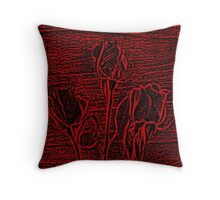 Roses in Red and Black Textured Digitally Enhanced Photograph Art Throw Pillow
