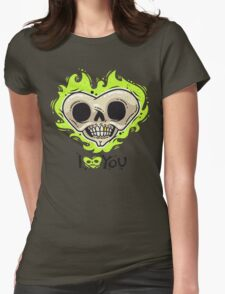Burning Dead Heart Loves You Womens Fitted T-Shirt