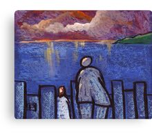 Watching the sunset with grandad Canvas Print