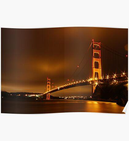 Golden Gate At Night Poster