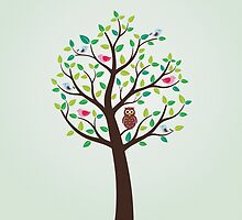Birds And Owl In The Tree by bicone