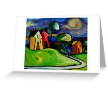 FARMHOUSES IN THE APPLE COLOURED FIELDS. Greeting Card