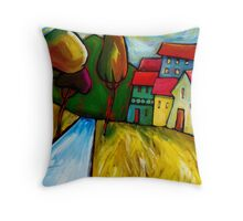 ROAD  INTO  TOWN. Throw Pillow