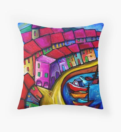 COLOURFUL PORT OF CORRICELLA - ITALY. Throw Pillow