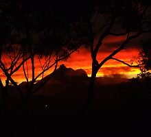 Fiery Mt Warning Sunset by Cathie Sherwood