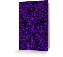 Roses in Purple and Black Textured Digitally Enhanced Photograph Art Greeting Card