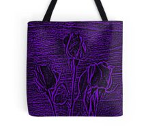 Roses in Purple and Black Textured Digitally Enhanced Photograph Art Tote Bag