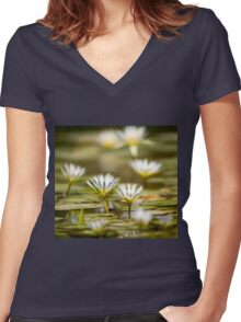 Nymphaea caerulea, known primarily as blue lotus (or blue Egyptian lotus) Women's Fitted V-Neck T-Shirt