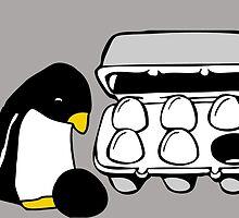 LINUX TUX PENGUIN EGG BOX BLACK EGG by SofiaYoushi