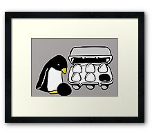 LINUX TUX PENGUIN EGG BOX BLACK EGG Framed Print