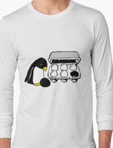 LINUX TUX PENGUIN EGG BOX BLACK EGG Long Sleeve T-Shirt