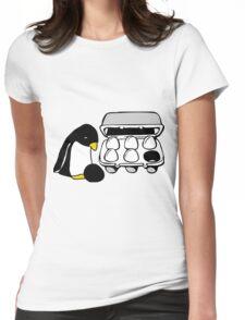 LINUX TUX PENGUIN EGG BOX BLACK EGG Womens Fitted T-Shirt