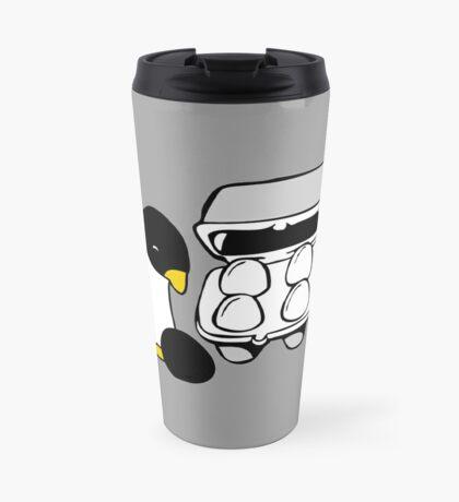 LINUX TUX PENGUIN EGG BOX BLACK EGG Travel Mug