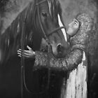 Knight and Horse in Monochrome by Kaye Miller-Dewing