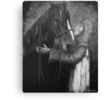 Knight and Horse in Monochrome Canvas Print