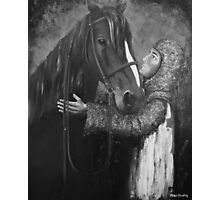 Knight and Horse in Monochrome Photographic Print