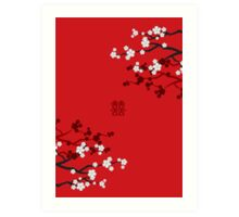 White Sakuras on Red and Double Happiness Art Print