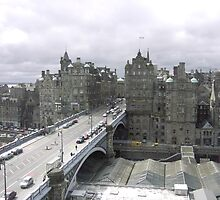 princess street & Weaverly station Edinburgh by mikequigley