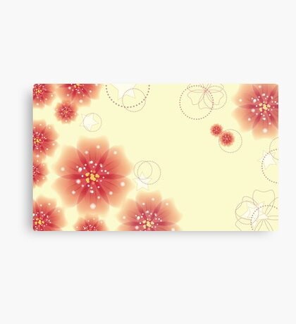 Pink flowers on yellow background Canvas Print