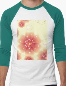 Pink flowers on yellow background Men's Baseball ¾ T-Shirt