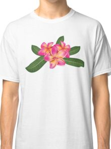 Pink plumeria with leaves Classic T-Shirt