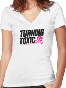Turning Toxic  Women's Fitted V-Neck T-Shirt