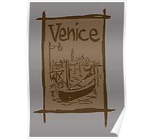 Venice lagoon vintage sketch Poster