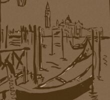 Venice lagoon vintage sketch Sticker