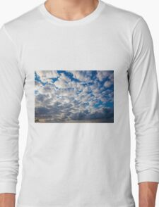 Cumulus Cloudscape white clouds in blue sky background  Long Sleeve T-Shirt