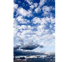 Cumulus Cloudscape white clouds in blue sky background  Photographic Print