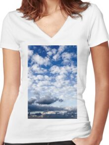 Cumulus Cloudscape white clouds in blue sky background  Women's Fitted V-Neck T-Shirt