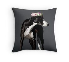 black and white dog with a wreath of flower on its head Throw Pillow