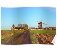 Landscape with windmill in Huise, Belgium  Poster