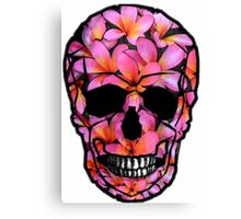 Skull with Pink Frangipani Flowers Canvas Print
