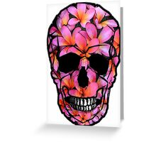 Skull with Pink Frangipani Flowers Greeting Card