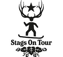 Stags On Tour - Snowboarding T-Shirt by springwoodbooks