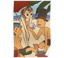 Layton and friends at the beach Poster