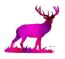 Deer figurine silhouette poster watercolor art print by Joanna Szmerdt
