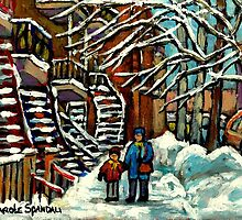 WALKING TO SCHOOL AFTER THE SNOW STORM VERDUN MONTREAL STREET IN WINTER by Carole  Spandau