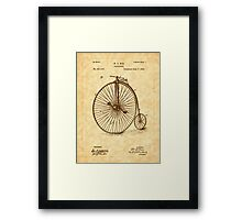 1885 Nye Velocipede Patent - Bicycle - High Wheel Framed Print