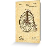 1885 Nye Velocipede Patent - Bicycle - High Wheel Greeting Card