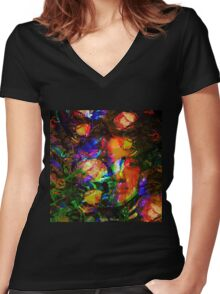 """"""" The beauty is the flower of the happiness. """" Women's Fitted V-Neck T-Shirt"""