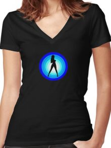 Babe in Blue Women's Fitted V-Neck T-Shirt