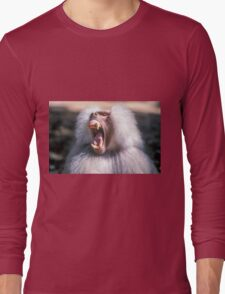 Close-up portrait of an Olive Growling Dominant male Hamadryas baboon Close-up portrait of an Olive baboon (Papio anubis) Long Sleeve T-Shirt