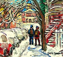 SNOW COVERED CARS ON MONTREAL STREETS by Carole  Spandau