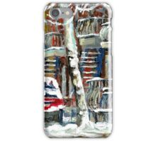 MONTREAL SNOWSTORM WINTER STREET SCENE PAINTING iPhone Case/Skin